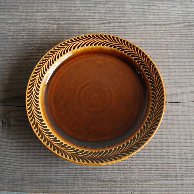 感器工房 波佐見焼 翔芳窯 ローズマリー リムプレート 皿 23.5cm ブラウン 332761