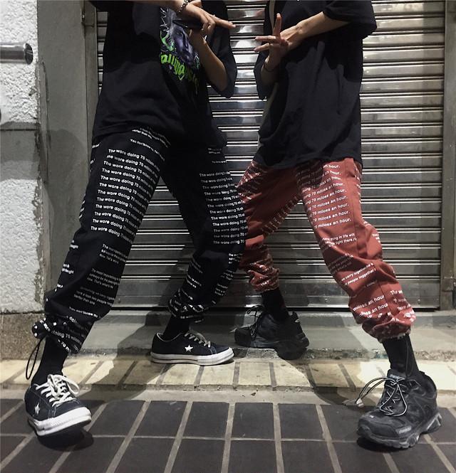 【bottoms】ストリート系コットンヒップホップ合わせやすいワイドプリントカジュアルパンツ