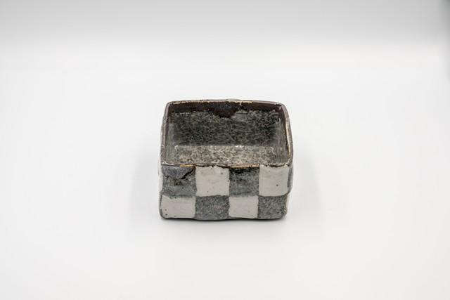 ◆受注生産◆鼠志野市松4寸正角箱 三浦繁久作