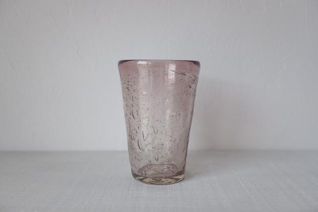 吹きガラス工房一星 うす泡グラス 【 パープル・小 】