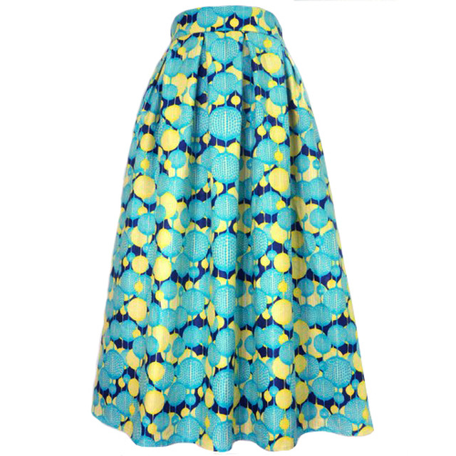 ミモレ丈スカート アフリカンテキスタイル「バルーン」アクア×イエロー(日本縫製) アフリカン エスニック ガーナ服 パーニュ バティック