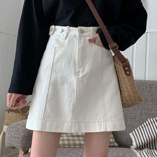 【skirt】超人気無地カジュアルハイウエストAラインデニムスカート