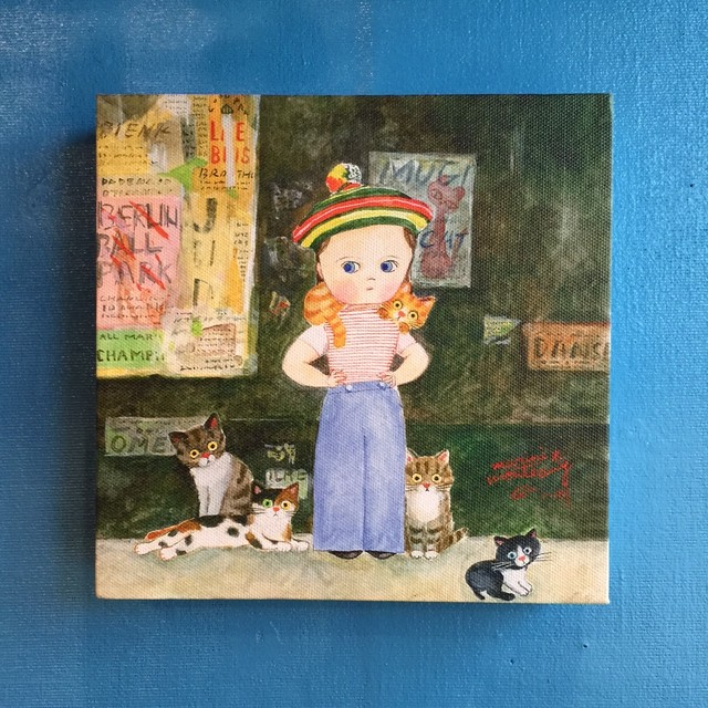 キャンバスプリント「猫と街角」
