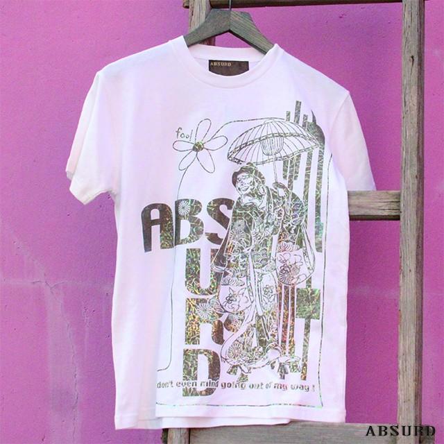 【数量限定!】 ABSURD クルーネックTシャツ メンズ レディース M キラキラ レインボー 白 WHITE 着物 風流 プリントTシャツ アブサード FOOL(W)
