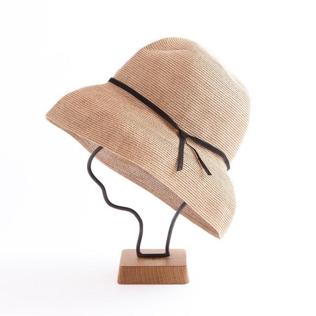 mature ha./paper braid light hat wide/mixbrown×black