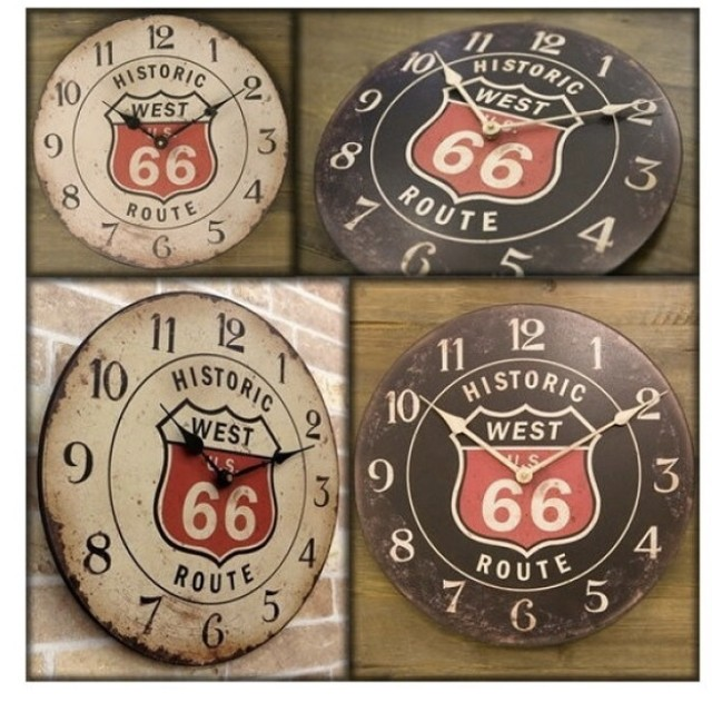 ROUTE66 route66 ビンテージ風ルート66カフェクロック♪レトロな感じが最高!  掛け時計 掛時計 壁掛け時計 アメリカンクロック ROUTE66 おしゃれ アンティーク レトロ カフェ / ルート66 ブラック