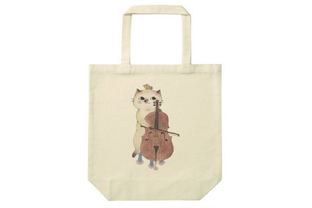 チェロ猫のトートバッグ