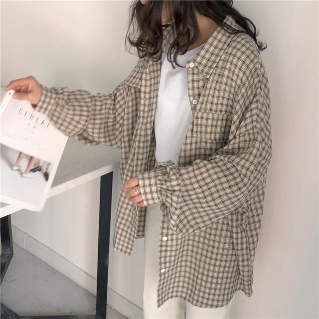 【tops】シャツ2色ルーズチェック柄定番合わせやすいシングルブレスアウター