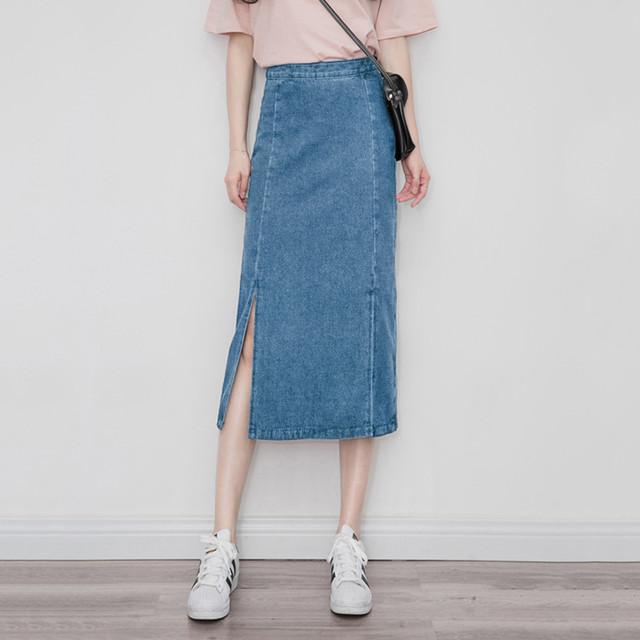 【skirt】好感度UP無地ハイウェストスリットデニムスカート