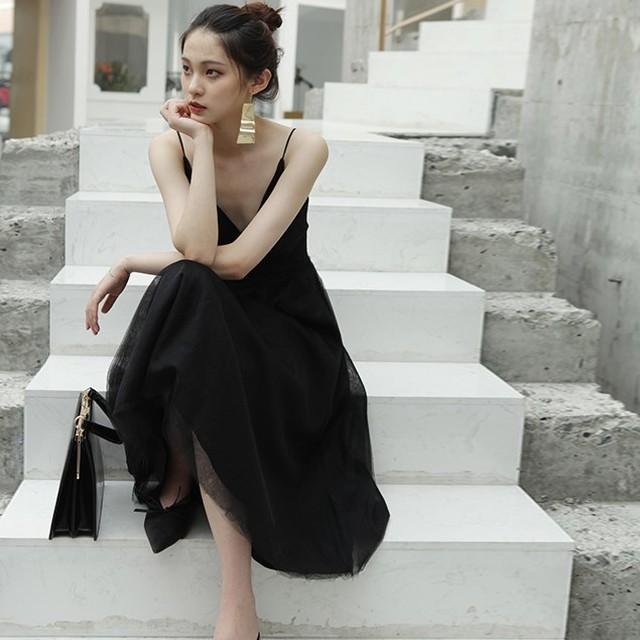 <即納>2色 総チュール キャミ カシュクール風 ワンピース ドレス パーティードレス