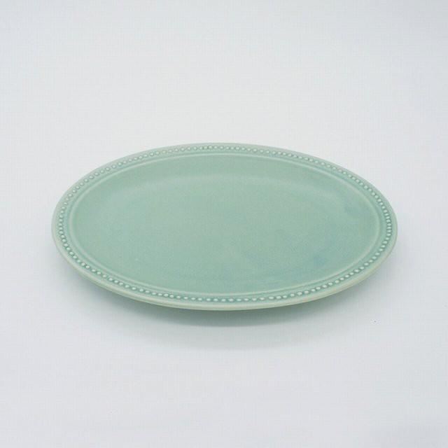 パンとごはんと... (Bread and Rice) RIM DOTS OVAL PLATE (リムドット オーバルプレート) Sサイズ 【グリーン】