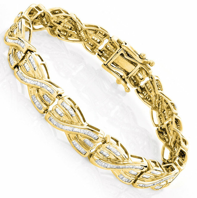 14K GOLD BAGUETTE DIAMOND BRACELET 4CT