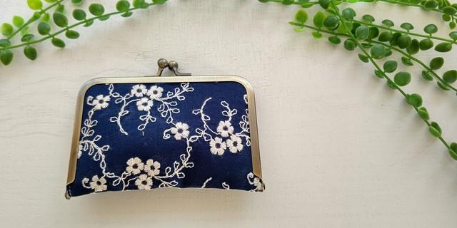 小花刺繍のジャバラ式カードケース&名刺入れ シェルピンク