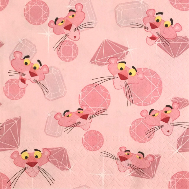【PINK PANTHER】バラ売り1枚 ランチサイズ ペーパーナプキン ALLOVER ピンク