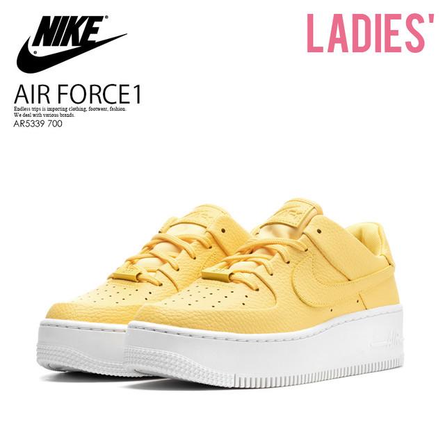NIKE (ナイキ) AR5339 700 WOMENS AIR FORCE 1 SAGE LOW (エア フォース1 セージ ロー) スニーカー TOPAZ GOLD/TOPAZ GOLD-WHITE (トパーズ ゴールド ホワイト)