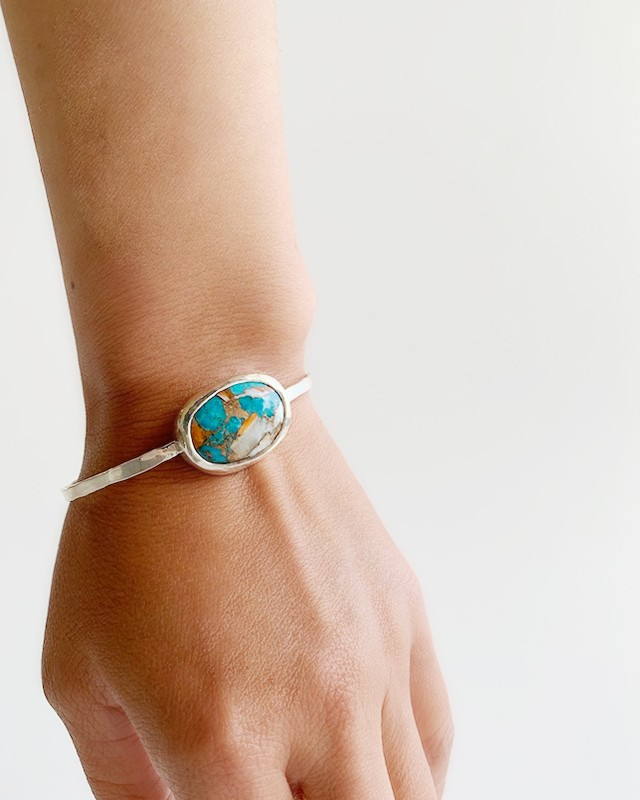 Oyste copper Turquoise Silver Bangle / middle     OBH-005