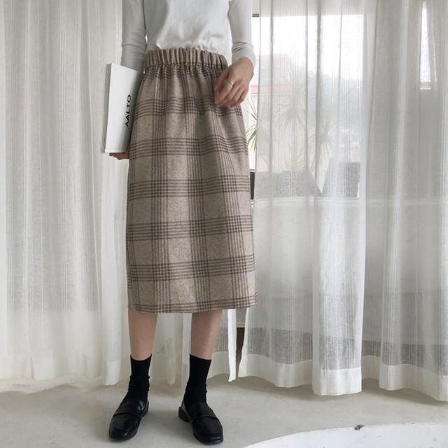 【bottoms】スカートハイウェスト着やせ秋スリット
