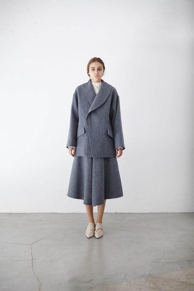 Tweed shawl col coat