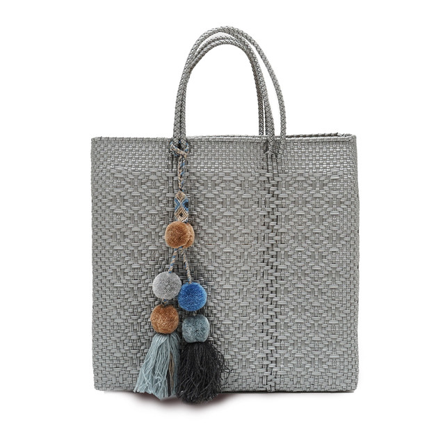 MERCADO BAG ROMBO with POMPON - SILVER(M) with BLUEMIX