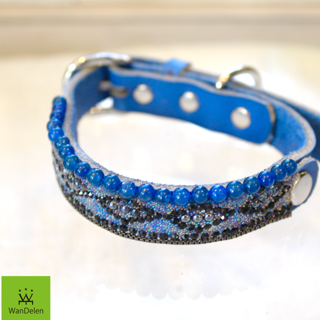 """ WanDelen"" Dog Necklace (diamond blue)"