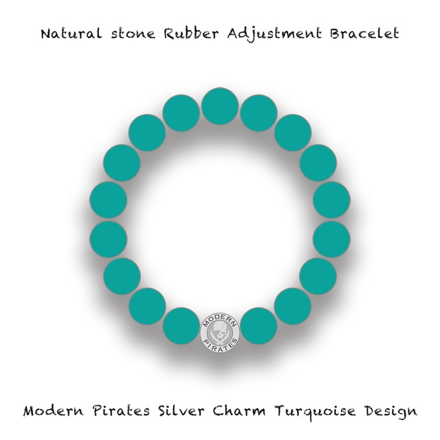 Natural Stone Rubber Adjustment Bracelet / Modern Pirates Silver Charm Turquoise Design