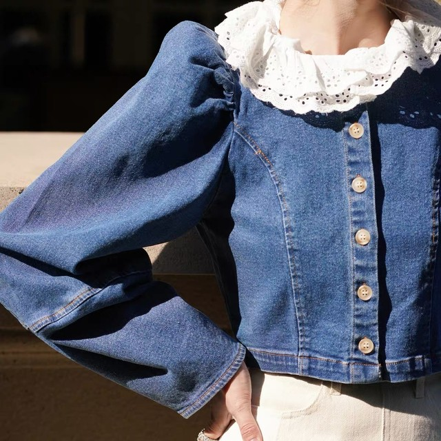 frill neck denim tops