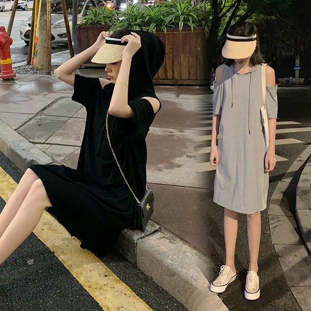 レディース 肩開き パーカーワンピース ガーリー ゆるライン 韓国ファッション オルチャン / Simple Strapless Hooded Dress Women's Tide (DCT-595497391928)
