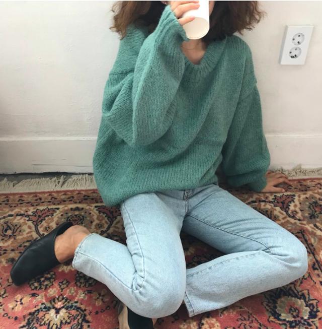 【即納♡】レトロルーズラウンドネックセーター 8405