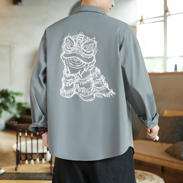 【莫问斋シリーズ】★チャイナ風トップス★メンズ シャツ 2color カジュアル 獅子 プリント 大きいサイズ グレー 緑