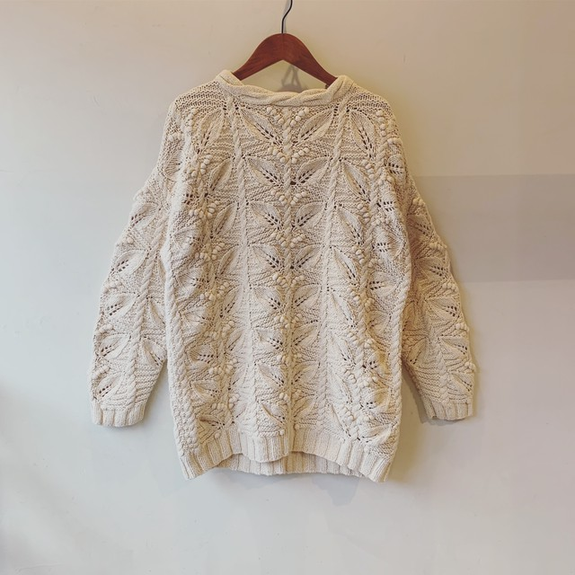 vintage leaf motif knit sweater