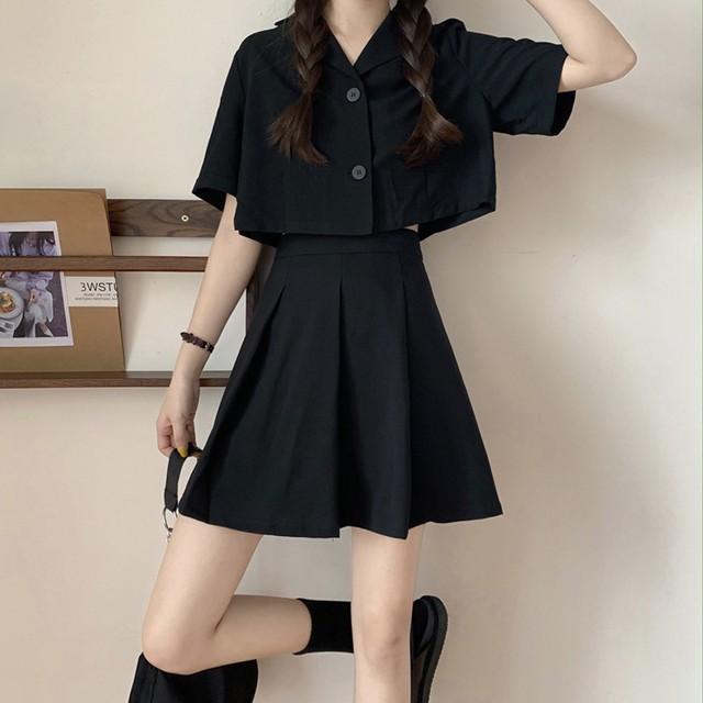 【セット】「単品注文」シンプル半袖ボタン折り襟トップス+スカート31163446