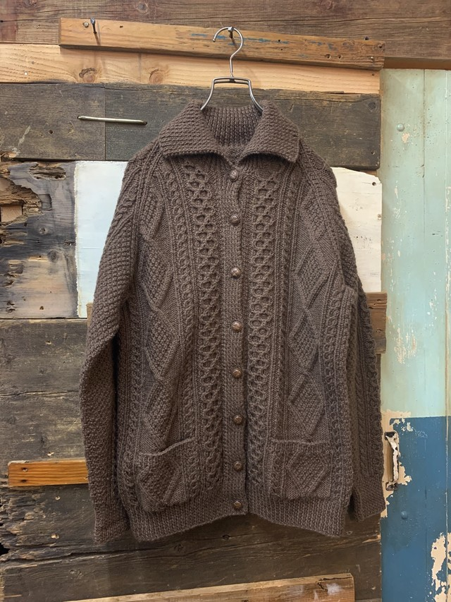 old women's aran knit cardigan