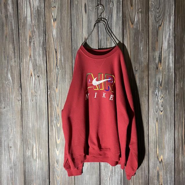 [NIKE]embroidery wine red sweat