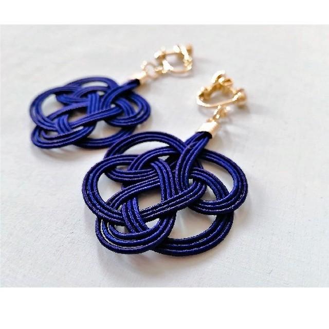 水引:tie earrings(ネイビー)