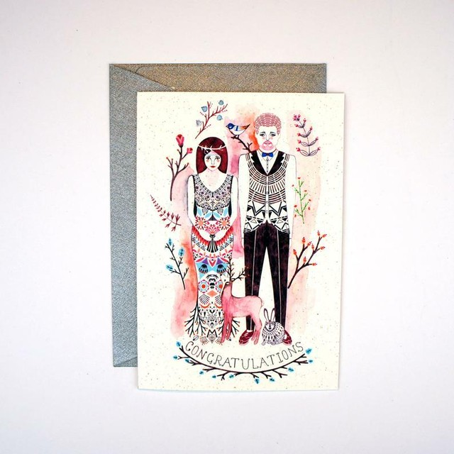 Greeting Card - Woodland Wedding Congratulations