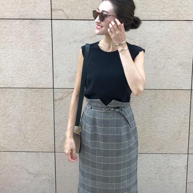KU-UM×yuko,natsu,junko ラムウールハイウエストタイトスカート ワインレッド