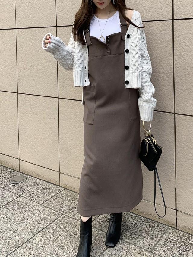 big pocket jumper skirt / brown 11/12 21:00~ 再販 (即納)