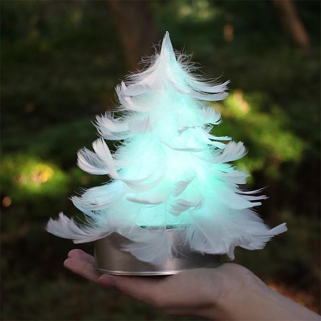 【7色に光る羽ツリー】てのひらサイズ  LEDライト付き完成品 feather tree light 003