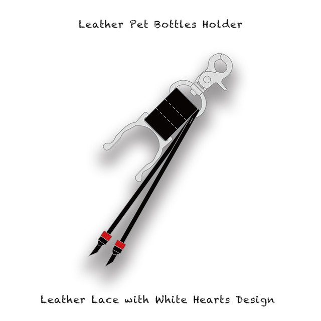 Leather Pet Bottles Holder / Leather Lace with White Hearts Design