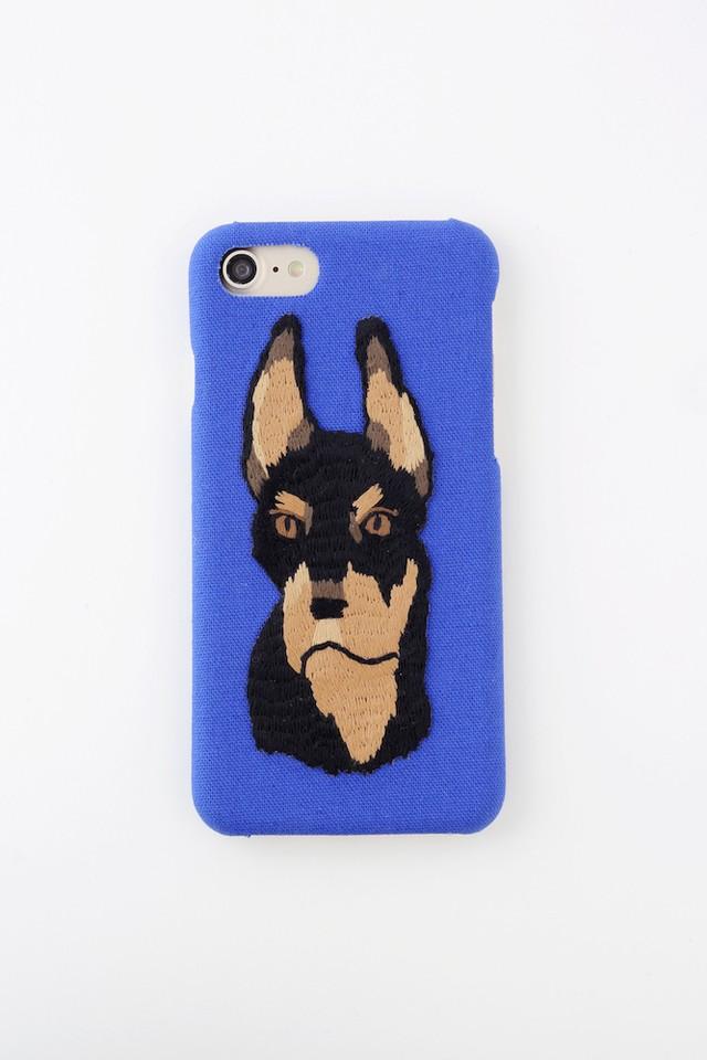 【iPhone7専用】ドーベルマン刺繍iPhone7ケース ブルー