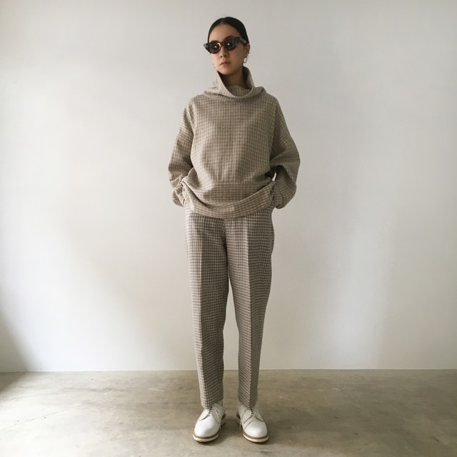 """High neck pullover  """"Ice gray hound's-tooth check"""" khadi wool"""