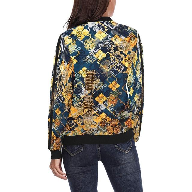 家紋装飾Blue Gold メンズ&レディースボンバージャケット