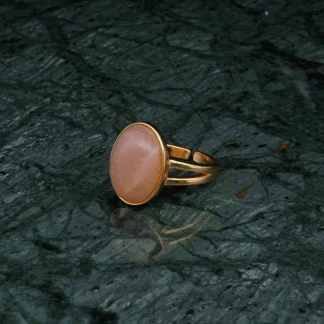 OVAL BIG STONE RING GOLD 003