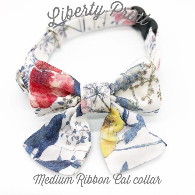 猫 首輪 ミディアムリボン ブルー 花柄 リバティプリント × Irma