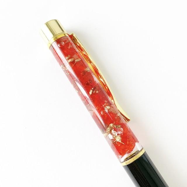 クリアケースラッピング付きハーバリウムペン(ブラック×レッド×ゴールド)