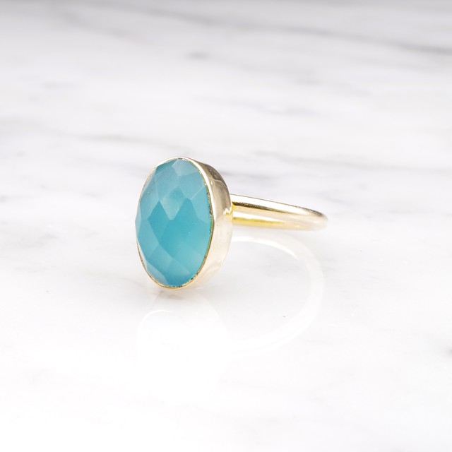 SINGLE OVAL STONE RING GOLD 009
