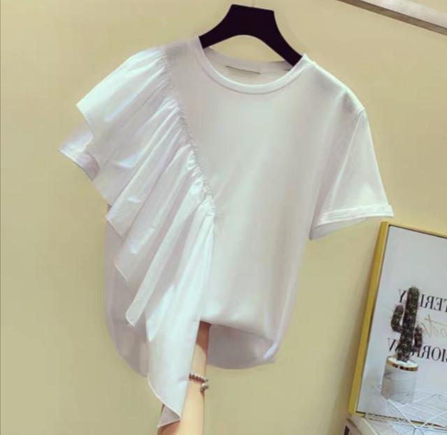 【6/5頃発送予定】ショルダー斜めフリル Tシャツ・ホワイト