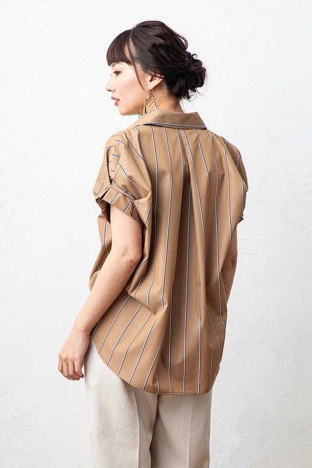 タックスリーブシャツ <CAMEL STRIPE>