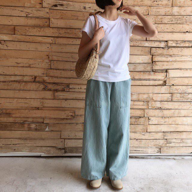 homspun(ホームスパン) 天竺フレンチスリーブTシャツ サラシ/ブラック