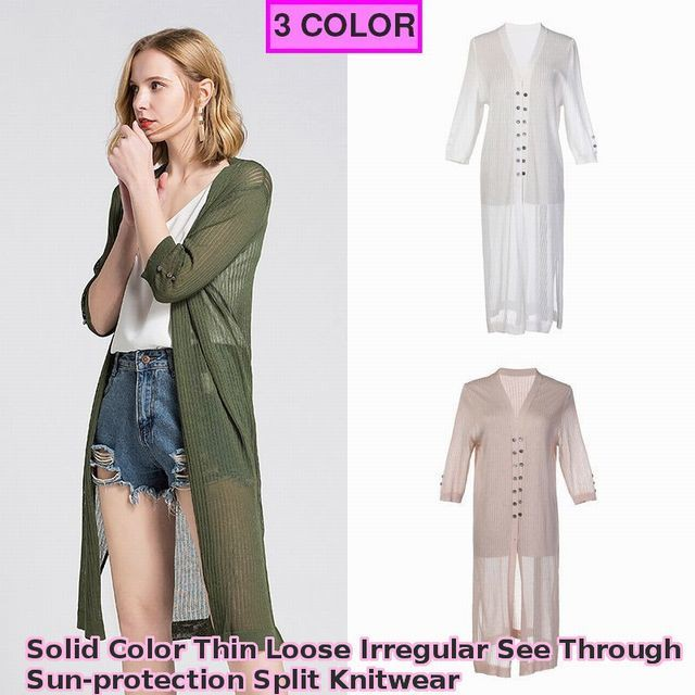 レディース ロングカーディガン 《3カラー》 / Solid Color Thin Loose Irregular See Through Sun-protection Split Knitwear (SKU : 18WT368)